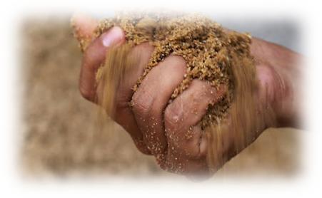 hand met sand