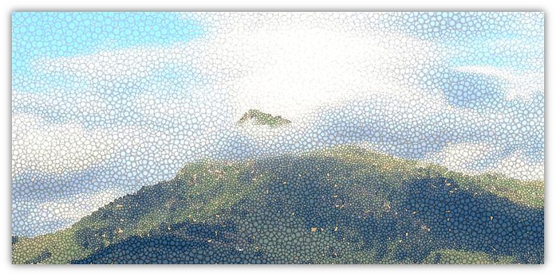 berg in wolke
